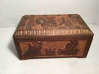 Vintage Wooden Box, Hand Carved, Lined, People, Faces