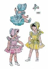 Vintage Baby Toddler Dress Bonnet Simplicity 1950s SEWING PATTERN  Size 1 2 3