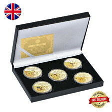 More details for character gold plated metal coins collectible with black gift box and card
