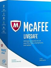McAfee LiveSafe 2017 For 1 Year and Unlimited PC For Windows IOS MAC Android