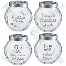 Personalised Dog Cat Pet Glass Storage Biscuit Treat Jar Vets Groomers Engraved