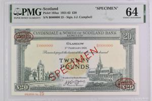 SCOTLAND P# 193as 1958 20 POUNDS SPECIMEN PMG 64 CHOICE UNC TOP POP
