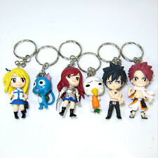 Anime Fairy Tail Set 6x Characters Keychains Keyring Figure Toy Gift Collectable