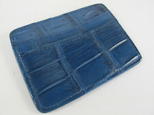 Genuine Crocodile Skin Business Credit ID Card Holder Blue + Free Shipping