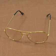 Women Men Aviator Clear Lens Eyewear Thin Metal Frames Eyeglasses Gold