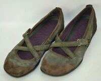 Privo by Clarks Suede Leather Mary Jane Loafers Shoes Womens Size 9 M Brown Gray