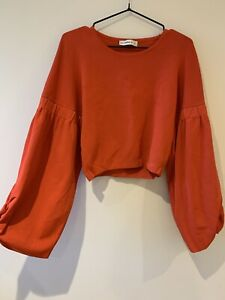 Zara Cropped Stretch Jersey Top With Wide Fit Sleeve - Orange