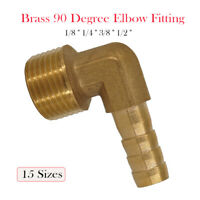 Brass 90 Degree BSP Male Female Elbow Barbed Hose Tail Pipe Air Gas Fittings New