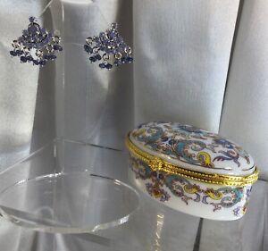 Sapphire Sterling Earrings,NEW.
