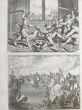 Baldaeus Original Engravings Sea Battle Goa India Dutch vs. Portugese - 1672#