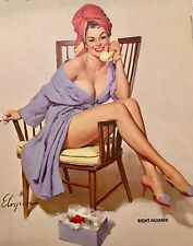 RIGHT NUMBER Nude VINTAGE Old ELVGREN BATHROOM Pinup Stockings Pin-Up Bath Phone