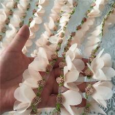 """1Yard Pink Chiffon Petal Trim Fabric Tulle Lace Ribbon Sewing 1.57"""" Width"""