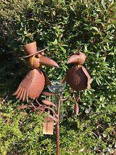 NEU * Regenmesser rost Vögel Shady ArtFerro Handarbeit Metall Gartenstecker