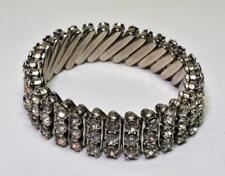 Vintage 60s Silvertone Made British Hong Kong 3 Row Rhinestone Stretch Bracelet