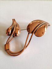 Vintage Renoir Double Leaf Copper Brooch - Signed