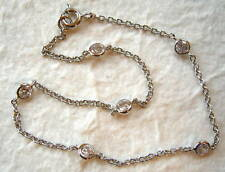 Sterling Silver and CZ Cubic Zirconia by the Yard Anklet 9""