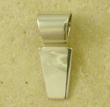 Solid Sterling Silver Glue On Style Bail Pendant Jewelry Finding - 6 mm x 15 mm