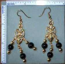 Black color beads & gold tone earrings