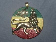 New Brass Gold Tone Flag Rasta Lion Of Judah Rasta Crown Pendant Charm Necklace