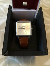 NWT NIXON K SQUARED LEATHER Silver Brown Leather 32mm Watch Retail $150