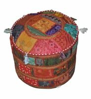 Ethnic Ottoman Cover Indian Handmade Footstool Patchwork Gypsy Floor Pouf Cover
