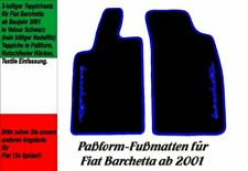 Fußmatten für Fiat Barchetta ab 2001  VELOUR! Schwarz Logo Blau