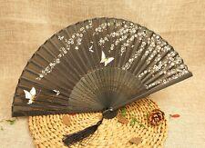 Chinese Cherry Blossom Butterfly Black Silk Folding Bamboo Hand Fan Summer Favor