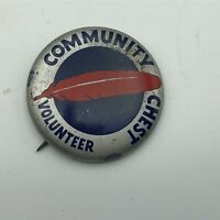 Vtg Community Chest Volunteer Red Feather Button Pin Pinback WW2 Homefront P6
