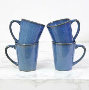4pcs 250ml Stoneware Reactive Glazed Blue Gloss Mug Coffee Cup Mottled Speckled