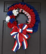 "27"" Wonderful Unique Handmade Red White Blue Wreath - 4th of July GREAT GIFT"