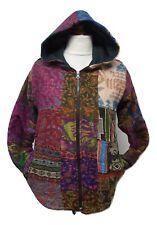 Patchwork Jacket Fleece Lined Winter Coat Casual Hippie Festival Small/Medium X