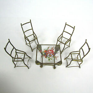 Antique Vtg Dollhouse Furniture GLASS FAUX METAL BAMBOO Gold Table Chair Lot