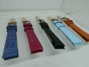 14mm  Tony Crocodile Grain Leather watch straps,Two keepers, Various Colours