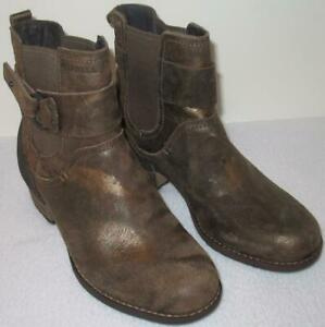 MERRELL Shiloh Pull Ankle Boot  Burnished Brown/Gold Leather US 6/EU 36 NIB $200