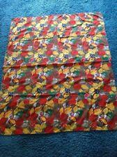 Vintage Fabric 60s/70s Table Cloth 43 x 52''. Camper Van/Caravan . Orange Greens