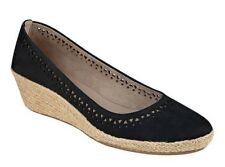 Easy Spirit Derely wedge pumps espadrilles leather black sz 9.5 Med NEW