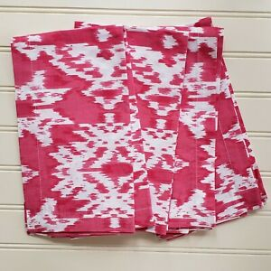 NEW Fete Home Dining Set of 4 Square Cotton Napkins 20 x 20 Pink White IKAT