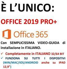 Microsoft OFFICE ITALIANO 2019 PRO + / 365  x 5 PC / Mac / Cell Iphone IPAD