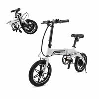 "SwagCycle EB-5 Lightweight Folding EBike Pedals w/14"" Wheel 250W Hub Motor White"