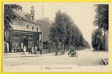 cpa ROYE (Somme) L'avenue de la GARE Maison BOULENGER E. VERRIER Vélo à Moteur