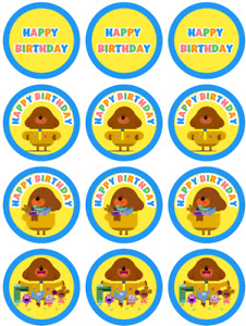 12 x cake toppers cupcakes 2 inch pre cut Hey Duggee theme Edible