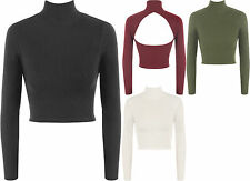 Polo Neck Patternless Stretch Other Tops for Women