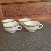 Vintage Pyrex Lime Green With Gold Trim Cup Set Of 4 H