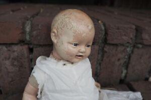 "Antique Doll 18"" Creepy Haunted Bubbles Oddity Vintage Compo Horror Halloween"