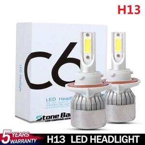 2x H13 9008 LED HEADLIGHT KIT CAR HI-LO BEAM BULBS 72W 16000LM 6000K