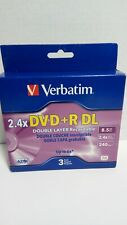 Verbatim Double Layer Recordable DVD+R DL 3-Disc Factory Sealed Box 240 Minute