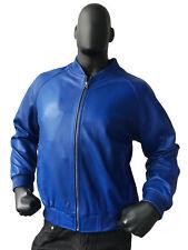 Jakewood Men's Royal Blue Genuine Lambskin Leather Baseball Jacket, Size 2XL