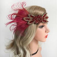 Wine Red 1920s Feather Flapper Headpiece Wedding Headband Fancy Great