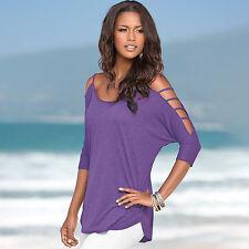 Plus Size Women Summer Cold Off Shoulder Tops T-shirt Ladies Short Sleeve Blouse