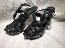 Women's Eva & Zoe Bethie 7 M Open Toe Size 7 Medium high heel Black strappy